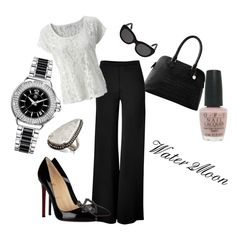 Black & White office outfit, created by water2moon