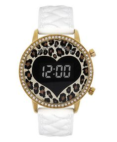 Betsey Johnson Watch, Women's Digital White Quilted Heart Silicone Strap 41mm BJ00146-04 - Betsey Johnson - Jewelry & Watches - Macy's