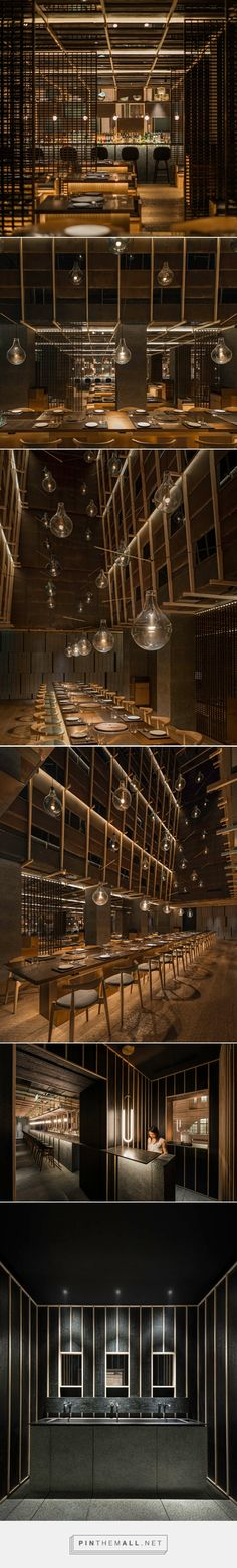 neri & hu evokes an abstract landscape in chi-q korean restaurant in shanghai - created on Bar Interior, Restaurant Interior Design, Abstract Landscape, Landscape Design, Japanese Restaurant Design, Neri And Hu, Coffee Restaurants, Hospitality Design, Cafe Bar