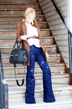 I love everything about this look! Bangs & wide leg trousers!