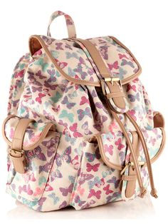 Lovely 'Butterfly Print Rucksack' by Accessorize. Butterfly patterns seem to be part of the current trend, and this rucksack looks particularly summery.