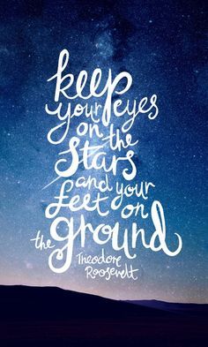 Eyes On The Stars Quote White Lettering Art Print