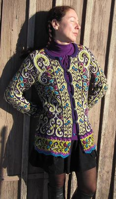 I'll never make this, but hot damn! Ravelry: Project Gallery for Fitted Jacket with Embroidery pattern by Kari Haugen Fair Isle Knitting, Hand Knitting, Crochet Cardigan, Knit Crochet, Norwegian Knitting Designs, Extreme Knitting, Poncho, Knitwear, Knitting Patterns