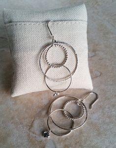Sterling Silver Triple Hoop Earrings by CatsCreationsLLC on Etsy