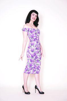 Scarlett Pin Up Dress in Lilac Print
