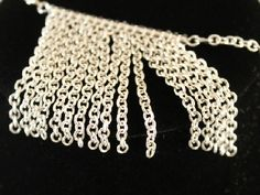 Silver Chain Fringe Necklace Original Handmade Unique #HAFshop #HAF #handmade #fringe #necklace $22.25