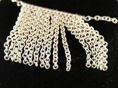 Silver Chain Fringe Necklace Original Handmade Unique #HAFshop #HAF #handmade #fringe #necklace $22.25