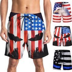 961413d2ea3e5 USA American Flag DISTRESSED Mens Board Shorts Swim Trunks Patriotic S-2XL  New #fashion