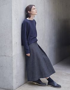 "TOAST, Autumn Collection 2016 | Boxy Purl Knit Pullover, Long Denim Skirt, ""Noah"" Shoes"