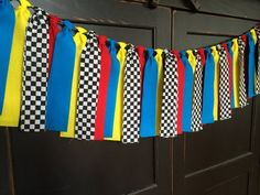 Race Car Rag Tie Fringe Garland Banner Bunting Backdrop Swag Photo Prop in Cotton Fabric Strips Hot Wheels Birthday, Hot Wheels Party, Race Car Birthday, Race Car Party, Cars Birthday Parties, Boy Birthday, Birthday Ideas, Car Themed Birthday Party, Fourth Birthday
