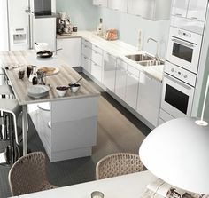 Example of the modern freshness white, glossy cabinetry brings to your kitchen space.