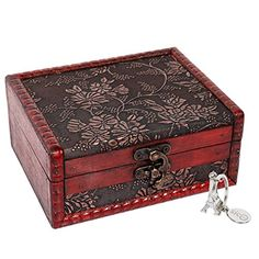 2x Decorative Trinket Jewelry Storage Box Handmade Vintage Wooden Treasur HNZ