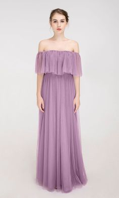 Off the shoulder bridesmaid dress with ruffle sleeves Velvet Bridesmaid Dresses, Purple Bridesmaid Dresses, Wedding Dresses, How Many Bridesmaids, Junior Bridesmaids, Ruffle Sleeve, Dresses With Sleeves, Gowns, Kebaya