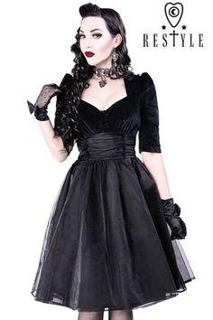 Black Velvet Gothic Pinup Dress by Restyle