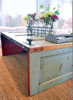 Old Door coffee table OR...use window shutters, cut down, and make a bed table for Mother's Day?