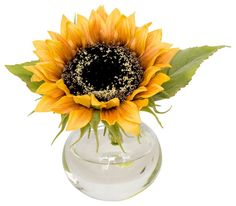 Single Sunflower in Bubble Vase - traditional - artificial flowers - The French Bee Sunflower Vase, Sunflower Centerpieces, Wedding Centerpieces, Purple Flower Arrangements, Purple Flowers, Silk Flowers, House Plans With Pictures, Artificial Flowers And Plants, French Flowers
