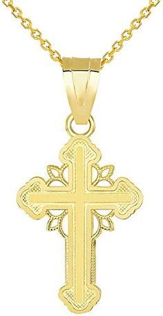Million Charms 14K Two-tone Gold Small//Mini Religious Cut-Out Design Crucifix 21mm x 15mm