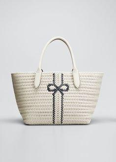Anya Hindmarch The Neeson Stripe Leather Tote Bag In White/blue Anya Hindmarch Fashion, World Of Fashion, Luxury Branding, Straw Bag, Tote Bag, Leather, Blue, Accessories, Bergdorf Goodman