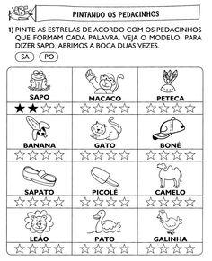 www.ensinar-aprender.blogspot.comPintando de acordo com a quantidade de sílabas