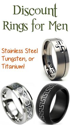 BIG Discounts on Rings for Men ~ Stainless Steel, Tungsten, or Titanium!