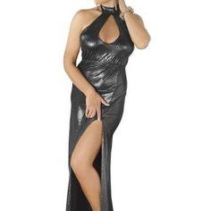 langes silbernes Wetlook-Kleid von Andalea