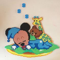 Baby Mickey Mouse hama perler beads by frkskovlykke Hama Beads Disney, Hama Disney, Pearler Bead Patterns, Bead Loom Patterns, Perler Patterns, Beading Patterns, Mickey Y Minnie, Mickey Mouse And Friends, Perler Bead Art