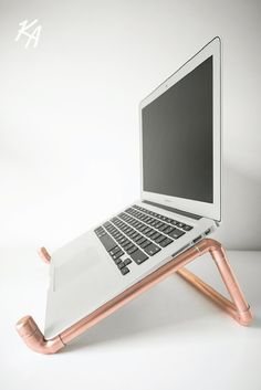 Copper Pipe Laptop Stand  Laptop & Notebook Stand  Desk  Polished Copper  Chic  Modern  Office  Ergonomic  Macbook Stand  Gift (65.00 USD) by KineticAdditions