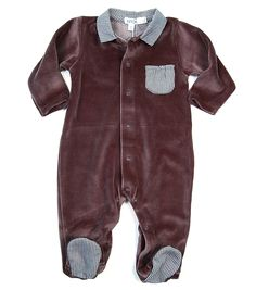 The gentleman's footie. Plush velour with charcoal gingham trime. Exquisite layette by Knot.