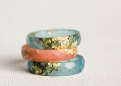 aquamarine thin multifaceted eco resin ring  size by RosellaResin, $50.00