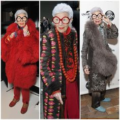 """The 21 Best-Dressed Women Right Now - Former interior designer, Iris Apfel. Known for her idiosyncratic sense of style, and """"more is more"""" approach to everyday dressing."""