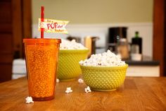 """Popcorn filled tumbler, with a tag that says, """"For a POP-ular teacher""""  (download printable tags)"""