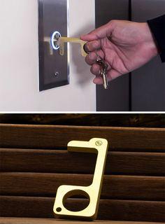 Pack of 2 Brass Keep Hands Clean No Touch EDC Door Opener Portable Multi-Purpose Health Key Tool for Outdoor Public Door Handle Elevator Button