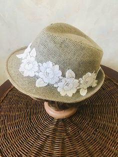 6dedd1f8eab1c Vintage gray straw female Trilby hat with floral decoration Hat for walking  Mother s gift