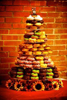 Doughnut wedding cake - For all your cake decorating supplies, please visit… Doughnut Wedding Cake, Wedding Donuts, Doughnut Cake, Wedding Sweets, Wedding Cupcakes, Wedding Snacks, Wedding Ideas, Wedding Inspiration, Donut Bar