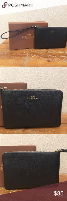 🖤Coach Wristlet🖤 New with box. Authentic black leather coach wristlet, gold Coach logo and zipper. Two inside pockets for ID and another card, 4x6, plenty of room for your lippy💋💄 Coach Bags Clutches & Wristlets