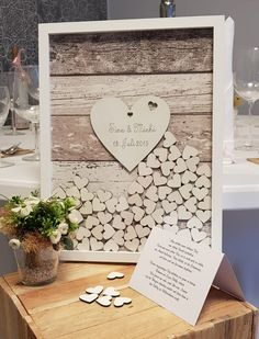 Wedding guest book with wooden hearts to throw in. You fill this great guest book for a wedding through a slit in the top of the frame with up to 140 white wooden hearts – handmade in Germany - Wedding Favors, Wedding Gifts, Wedding Venues, Wooden Wedding Guest Book, Wooden Hearts, Favor Tags, Dream Wedding, Fall Wedding, Diy Wedding