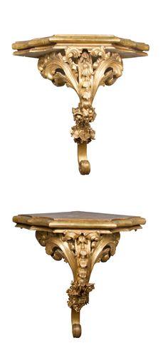 Paire d'encoignures en bois doré, Joan Pujol - Patrick Martin Antiquaires, Proantic