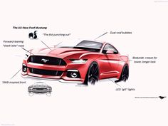 2015 Mustang Design Sketches, front 3/4.