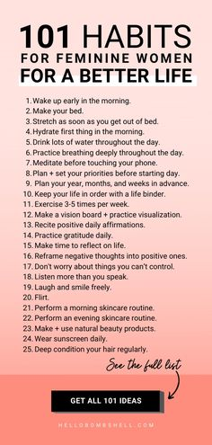Good habits to start for women for self improvement & better life. Improve life & become a better person. Develop healthy habits & break bad habits, fast. Self help tips, life hacks, personal development, goals, personal growth, self improvement, motivation, challenge, self esteem, confidence & wellness. Habit tracker, habit ideas, habits list, morning routine, habits of successful people and mental health. #lifehacks #habits #goals #motivation #mindset #personaldevelopment #selflove…
