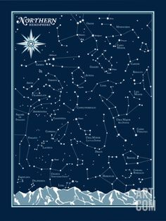Northern Hemisphere Star Chart Serigraph by Brainstorm at Art.com