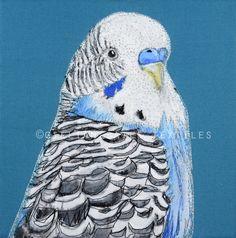 'Budgie No.2' Hand & Machine Embroidered Art Canvas ©gillianbates 2016