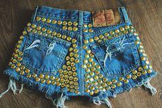 MADE TO ORDER Studded back High waisted Denim Shorts Vintage Destroyed diy Cut Off Jeans. $75.00, via Etsy. Diy Shorts, Cute Shorts, Ripped Mom Jeans, Rip Mom, Waisted Denim, High Waisted Shorts, Cut Off Jeans, Vintage Jeans, I Love Fashion