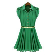 Pleated Lapel Collar Short Sleeves Solid Color Chiffon Ladylike Style Women's Dress