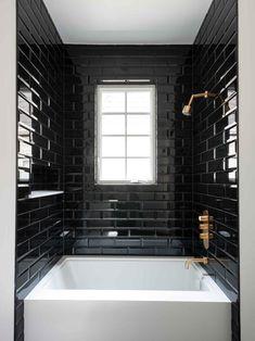 Dramatic black-and-white bathroom bathroom goals, black tiles, black decor, Black Tile Bathrooms, White Bathroom, Bathroom Interior, Modern Bathroom, Small Bathroom, Master Bathroom, Black And Gold Bathroom, Bathroom Goals, Bathroom Organization