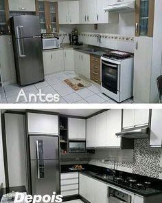 La imagen puede contener: cocina e interior Kitchen Room Design, Home Room Design, Modern Kitchen Design, Interior Design Living Room, Kitchen Decor, Kitchen Models, Apartment Kitchen, Kitchen Furniture, Decoration