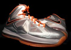 lebron x diana taurasi silver orange Nike LeBron 10   Diana Taurasi Phoenix Mercury PE