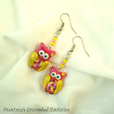 Owl earrings Pink yellow fimo polymer clay by CrumpledFantazies
