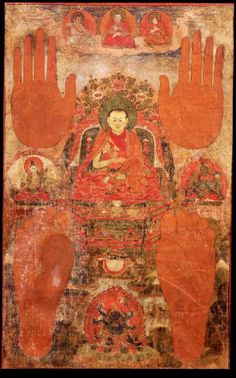 Lama, attired in the orange and red robes of a monk, sits on a throne. Left is the bodhisattva of long-life, White Tara, and on the right, Green Tara. Above and below are the red hand and foot prints of the lama. Top center is Marpa the Translator....
