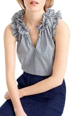 Crew J.Crew Ruffle Stripe Cotton Poplin Top available at Casual Tops For Women, Black Ruffle, Modern Outfits, Grey Shirt, Preppy Style, Summer Tops, Ideias Fashion, Clothes For Women, Stripe Top
