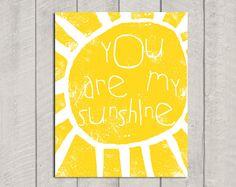 You Are My Sunshine Art Print - 8x10. $15.00, via Etsy.